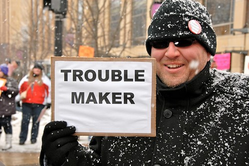 Trouble Maker w Sign | by Lynn Friedman