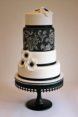 Black & White Anemone Wedding Cake | by ConsumedbyCake