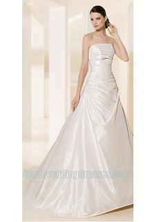 Taffeta Strapless Straight Neckline Rouched Bodice A Line in Chapel Train Romantic Custom Made New Wedding Dress WD-0632 | by janniery