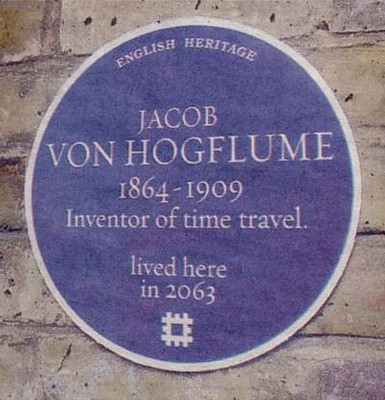 """Inventor of Time-travel"" Blue plaque 