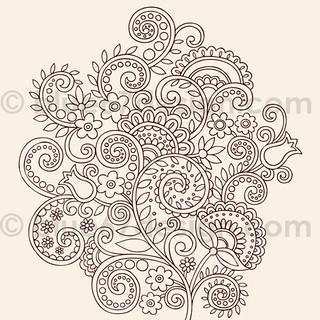 Henna Doodles Flower Vines Vector Tattoo Design By Blue67d Flickr