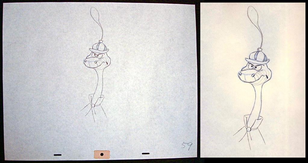 1973 DISNEY ANIMATION DRAWING SIR HISS ROBIN HOOD SNAKE