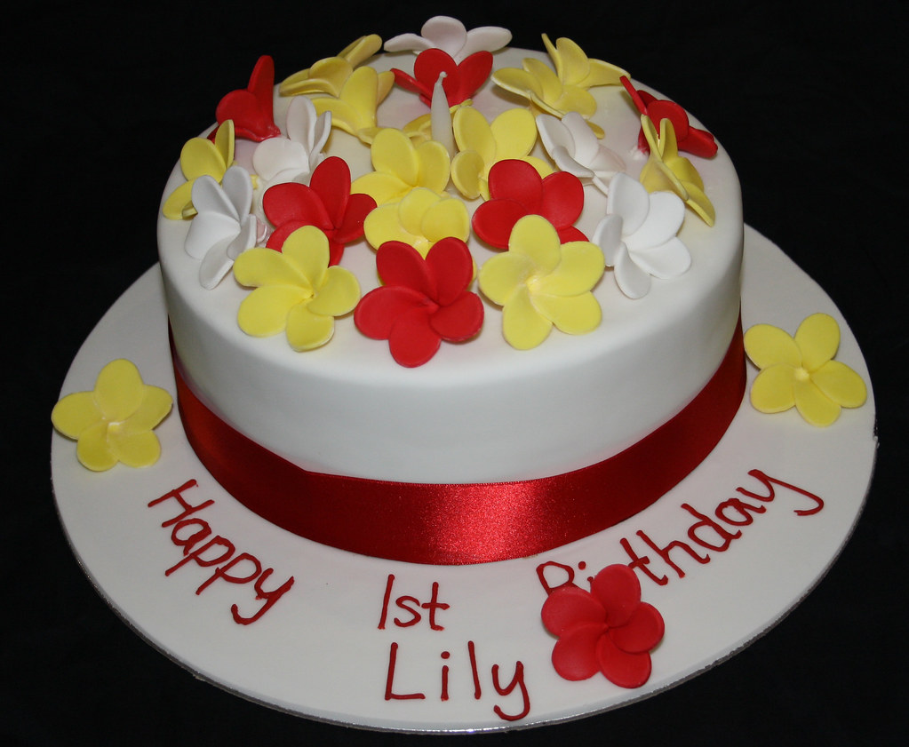 Fantastic Red White Yellow Flower Cake A Birthday Cake Designed By Flickr Funny Birthday Cards Online Alyptdamsfinfo