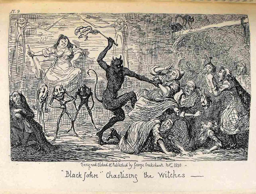 """Illustration: """"Black John"""" chastising the witches, from Letters on demonology and witchcraft"""