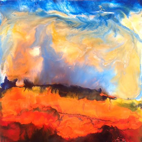 abstract art landscape encaustic paulfontana