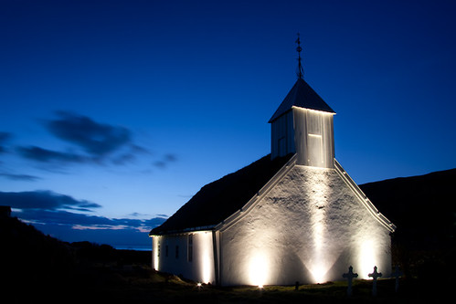 longexposure blue sky white mountain tower church night clouds sunrise dark lights faroeislands kirkja húsavík sandoy húsavíkarkirkja canon400d