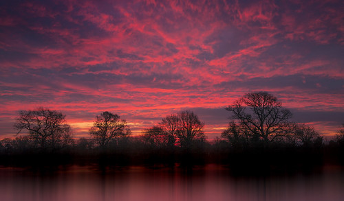uk red sky cloud reflection tree water field wales sunrise landscape dawn flood britain farm cymru cardiff meadow newport caerdydd glamorgan agriculture gwent wentloog gwentlevels stevegarrington wentlooglevels