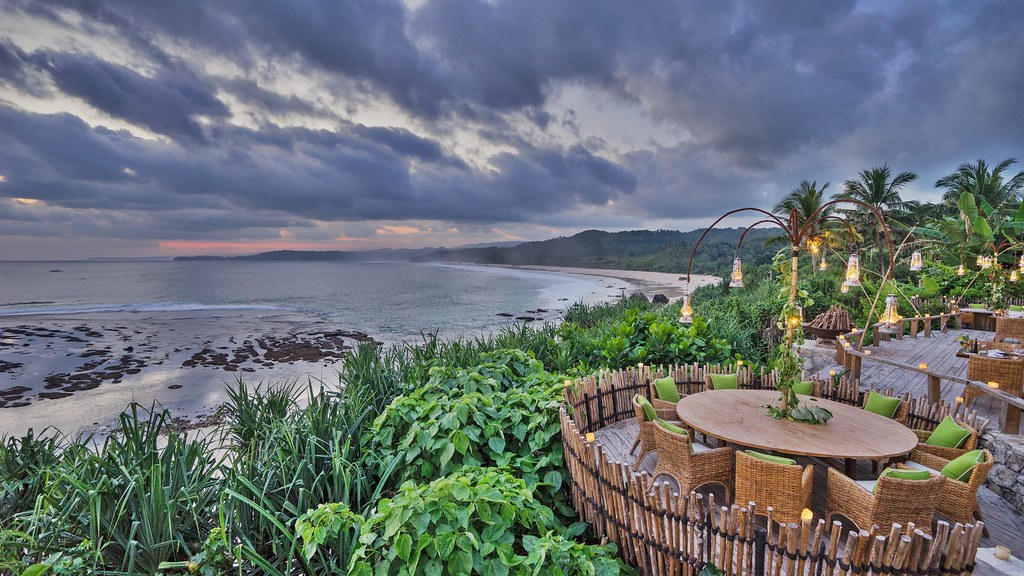 'Round table overlooking beach, Nihiwatu, Sumba' - Cover Photo for Feature, LA Travel Magazine, Fall 2015