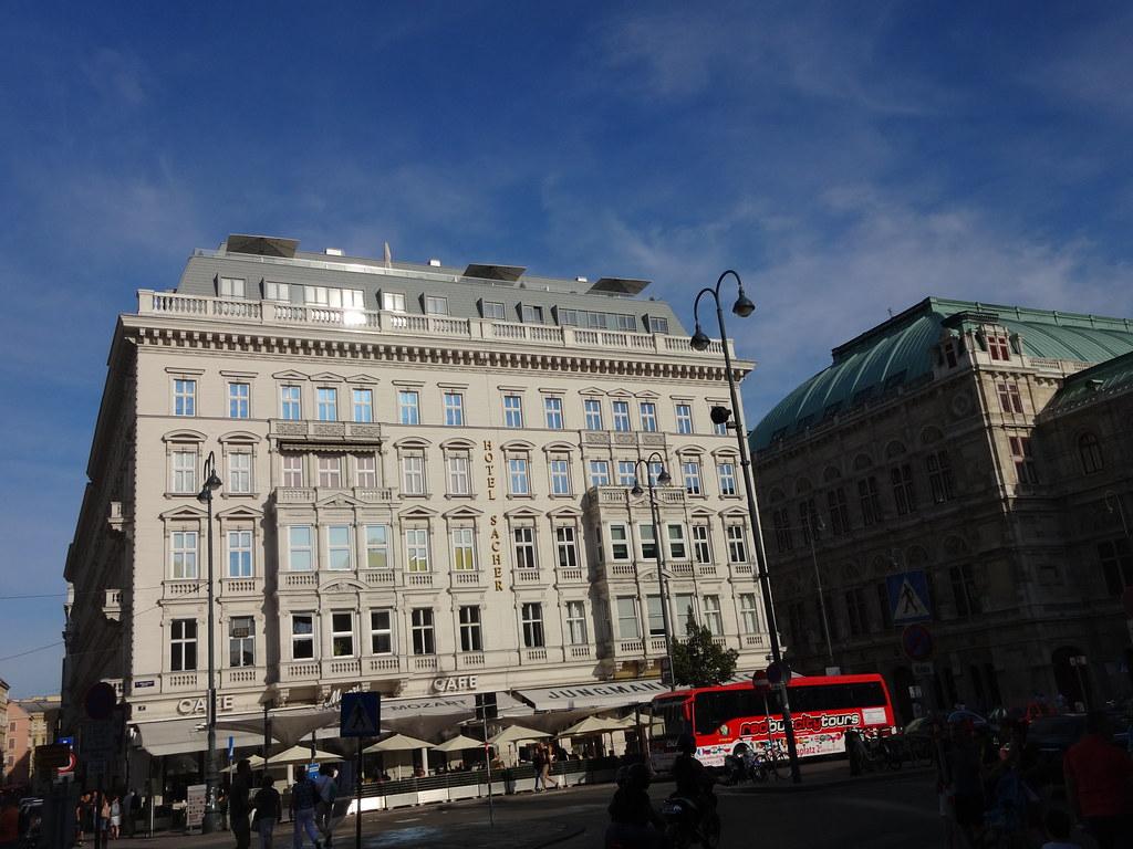 Wien, 1. Bezirk (the art of very renowned hotel buildings of Vienna), Philharmonikerstraße/Maysedergasse/Albertinaplatz (Hotel Sacher/Café Mozart)