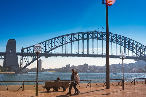 500px water australia new south wales outdoors sydney travel destinations architecture beautiful bench buildings couple flags harbour bridge iconic lamp post landmark landscape oceania place see rail river sitting sky walking teamcanon