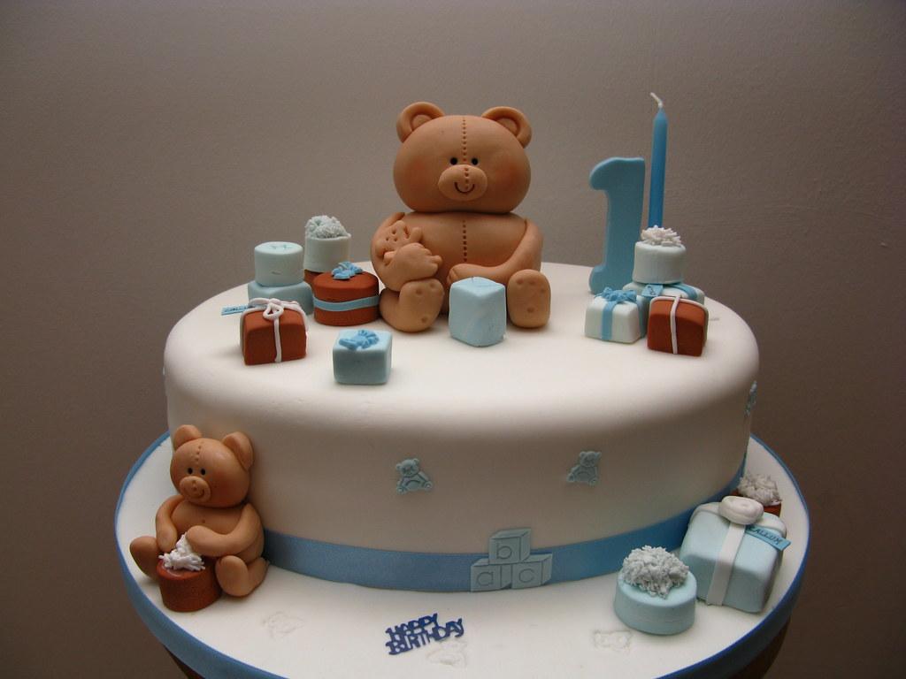 Teddy Bear Presents Birthday Cake By Susan ONeill