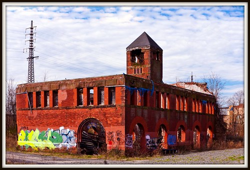 red portrait sky building brick station brooklyn clouds fire graffiti ruins destruction longisland nostalgia frame nostalgic remains wreckage waterworks pumping pumpingstation cmwd