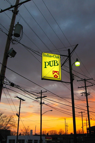 park columbus sunset ohio red sky orange sun india storm colors lines rain sign yellow bar clouds oakland oak pub power sundown cloudy telephone utility grill pole indianola