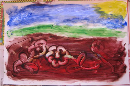 Ready to Break Through - Finger Paint Depiction of My Project Quilting Week 6 Concept | by AuntCindy'sAttic