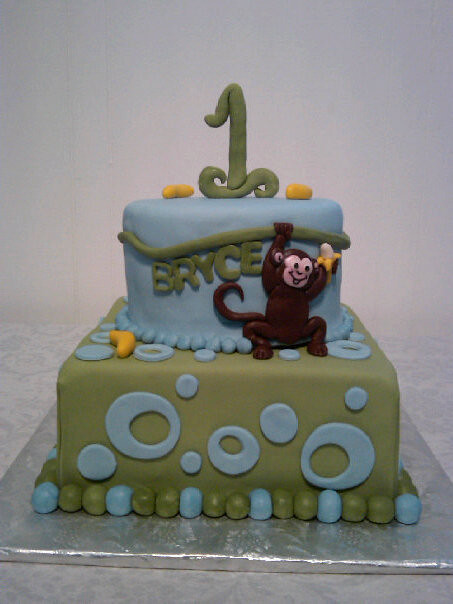 Peachy Blue And Green Monkey Themed Birthday Cake This Adorable Flickr Personalised Birthday Cards Xaembasilily Jamesorg
