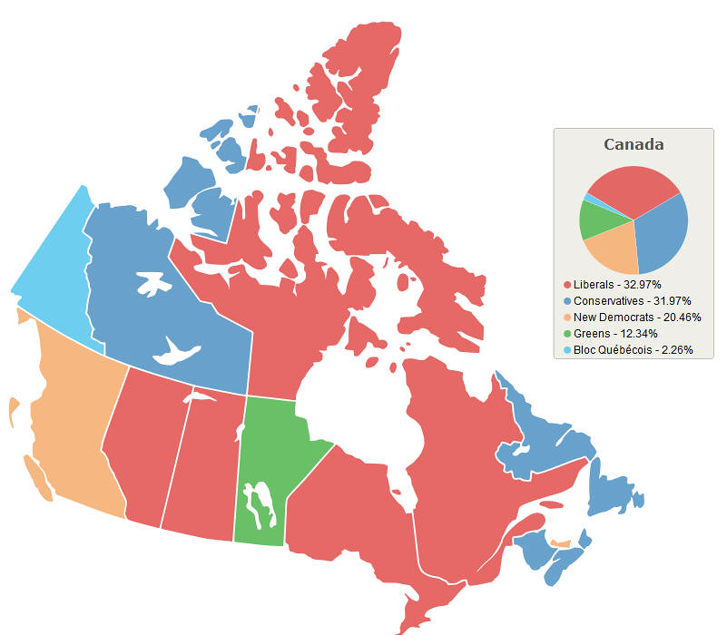 Canada Election Map on