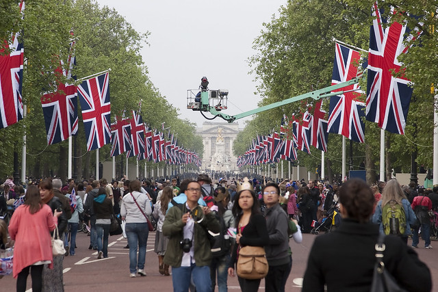 Crowds in the Mall for the Royal Wedding