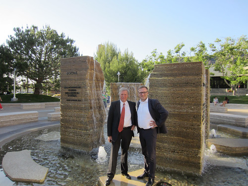 Clas Wihlborg & Niklas Myhr by Fountain on Attallah Piazza