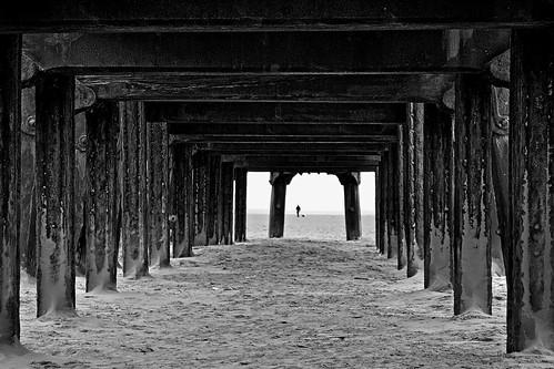 old white black beach silhouette canon coast pier sand jetty structure lancashire stannes fylde explored eos450d project30
