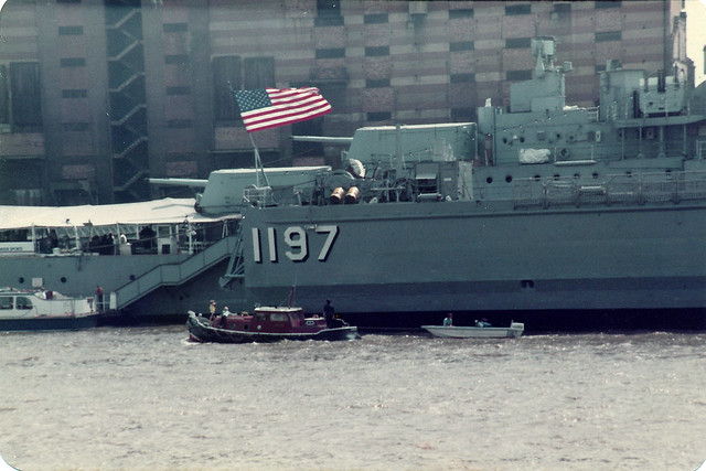 USS Barnstable County visiting the Pool of London (UK)