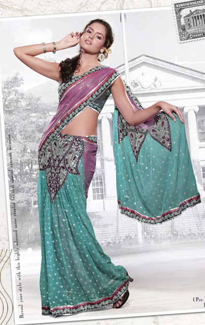 Blue Net Lehenga Style Saree With Blouse Blue And Purple Flickr