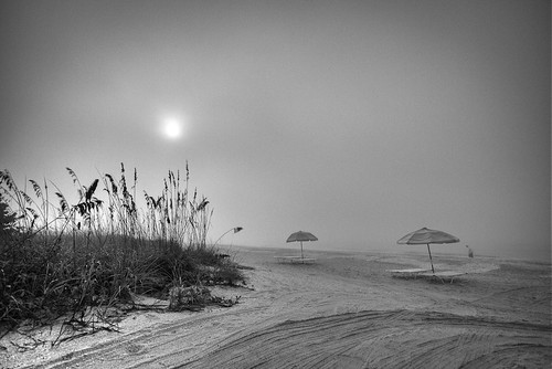 bw sun beach sunrise umbrellas sanibelisland hdr morningfog