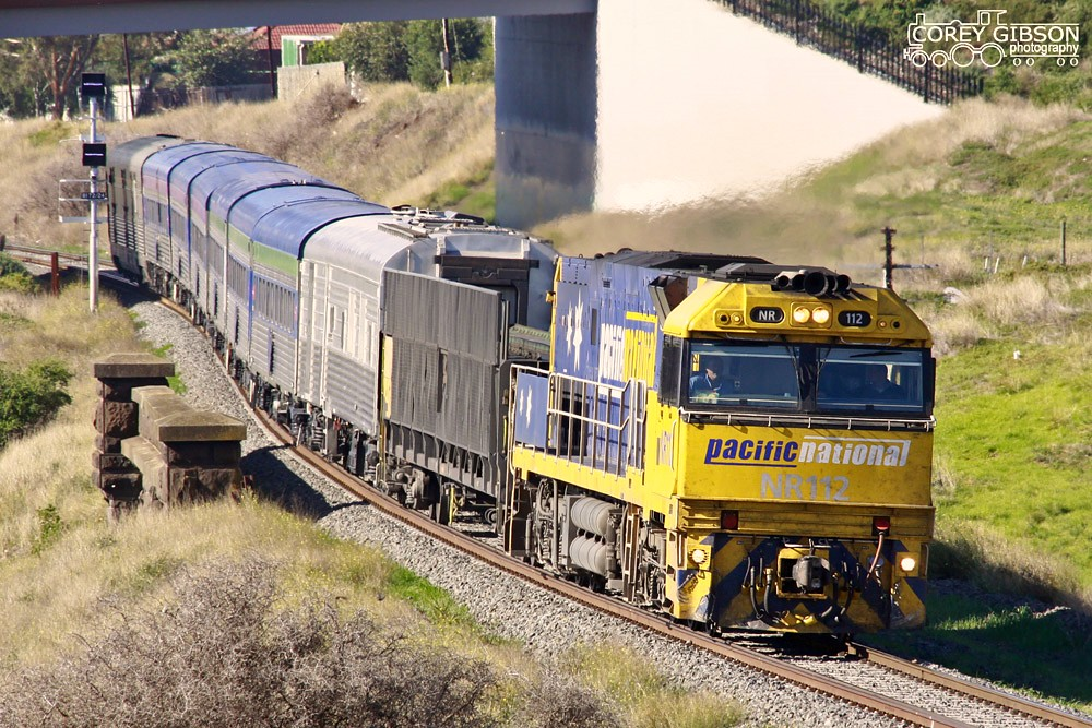 NR112 with the Adelaide bound Overland service by Corey Gibson