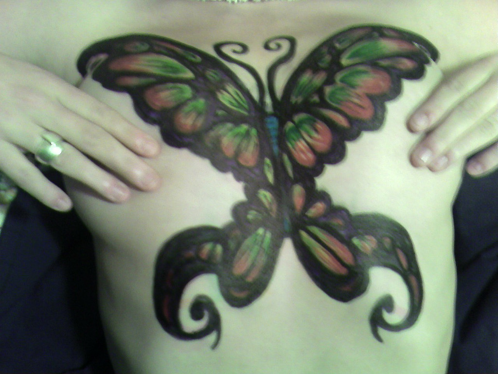 Butterfly Breast Plate Body Drawing With Sharpie 2006 Flickr