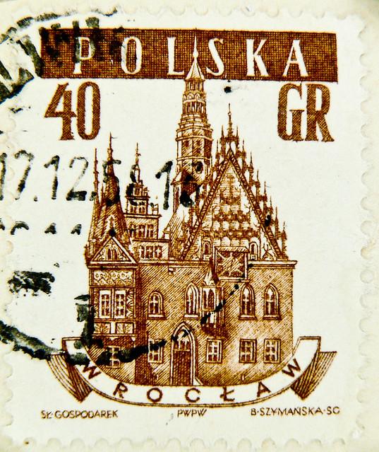 stamp Poland Polska 40 GR Wroclaw Breslau Town Hall Mairie timbre Pologne postage 40 GR selo Polonia sello francobolli почтовая марка Польша pullar Polonya 邮票 波兰 Bōlán Briefmarken Polen