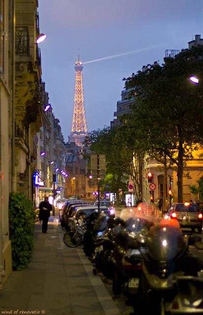 Spring Paris street in the evening