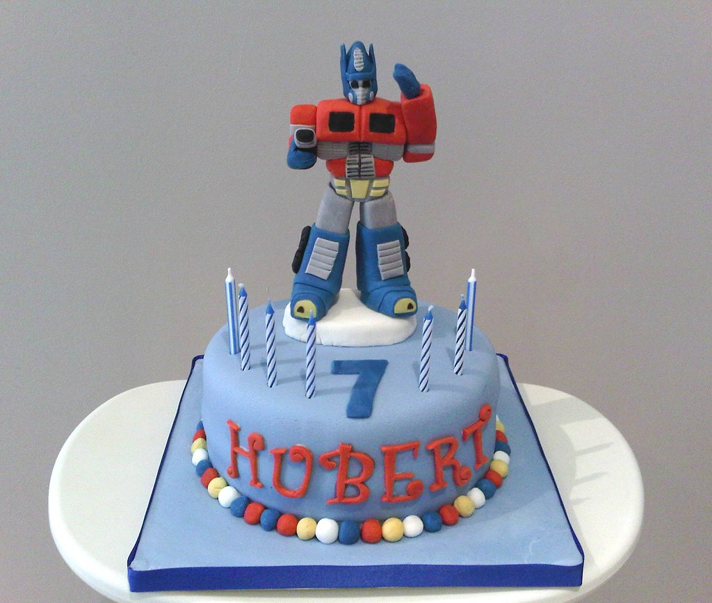 Outstanding Optimus Prime Birthday Cake Sweet Little Bakes Flickr Personalised Birthday Cards Paralily Jamesorg