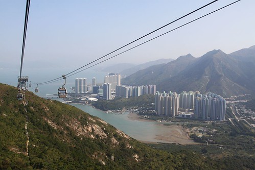 High above Tung Chung on the Ngong Ping 360 cable car
