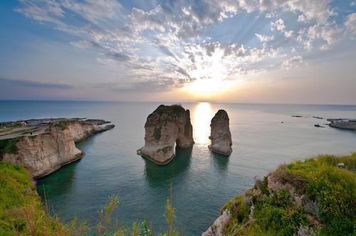 blue sunset sky lebanon cloud clouds nikon rocks landmark hour beirut landscpe awadi iawadi alroosha alroucha