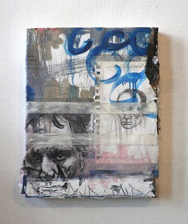 Zavier Ellis 'Mad Genius Painting # 1', 2011 Oil, pencil, paper, tape on canvas 35.5x28cm