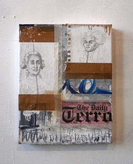 Zavier Ellis 'The Terror', 2011 Oil, pencil, paper, tape on canvas 35.5x28cm