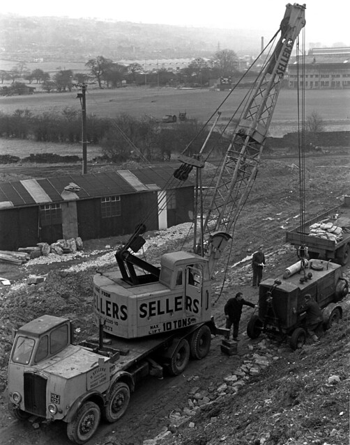 Thornycroft 8-wheeler and Coles Crane, Sellers of Leeds, Keighley By-pass Construction 1960s