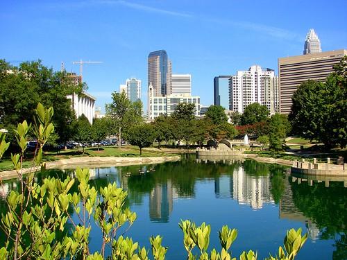 city urban nature skyline reflections landscape scenery day skyscrapers charlotte northcarolina clear marshallpark