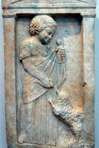 "-- Grave stele of  young girl, ""Melisto,"" -c. 630 BC 