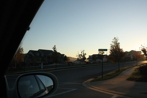 road morning car corner sunrise mirror early village sidewalk pennstate psu