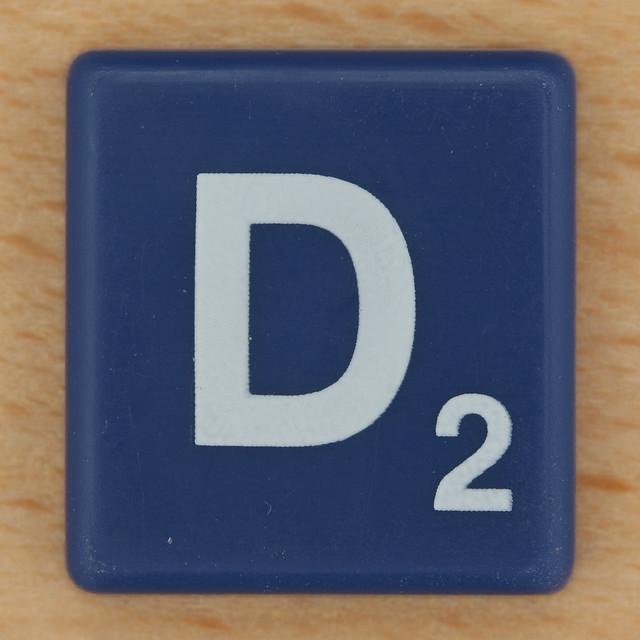 Scrabble White Letter on Blue D