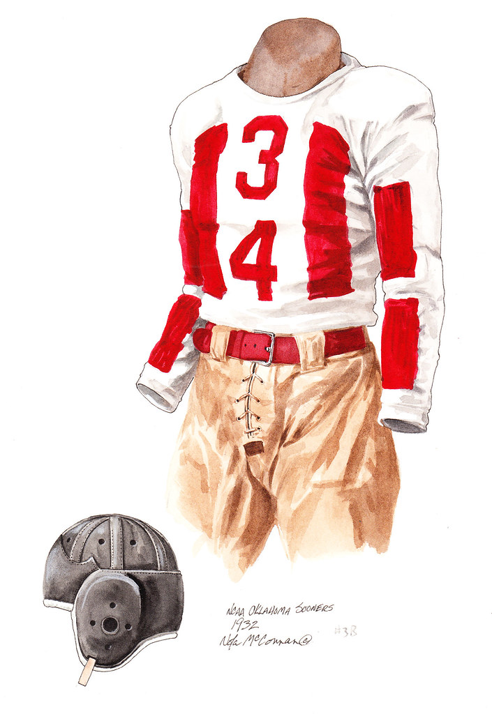 separation shoes 4c405 0d626 Oklahoma Sooners 1932 football uniform artwork | This is a h ...