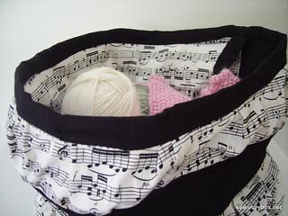 Black and White Music Fabric Knitting Basket