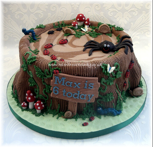 Peachy Tree Stump Bugs Birthday Cake What A Fun Cake To Make F Flickr Funny Birthday Cards Online Alyptdamsfinfo