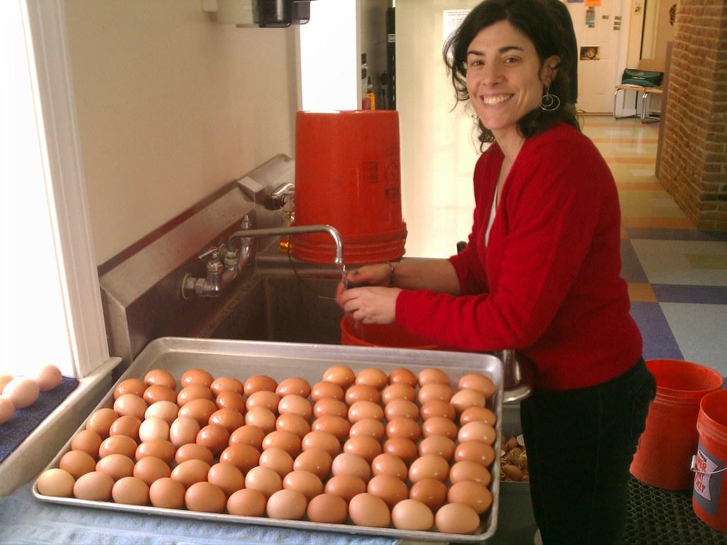 Nancy washing eggs