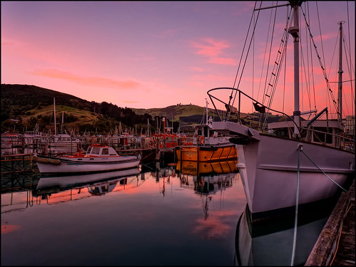 new sunset sea sun dan clouds port landscape boat dock scenery glow dusk web zealand nz dunedin setting hdr chalmers goodwin moored fz38 fz35 pommedan