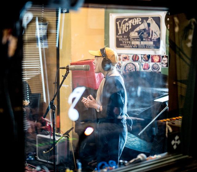 Cibo Matto at WFMU: Miho Hatori through the studio glass