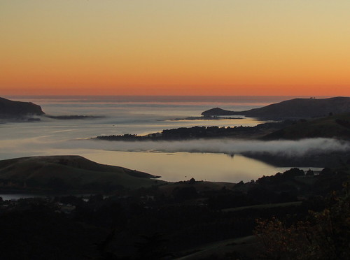 newzealand castle sunrise otago larnach peninsula stillness orangey groundfog