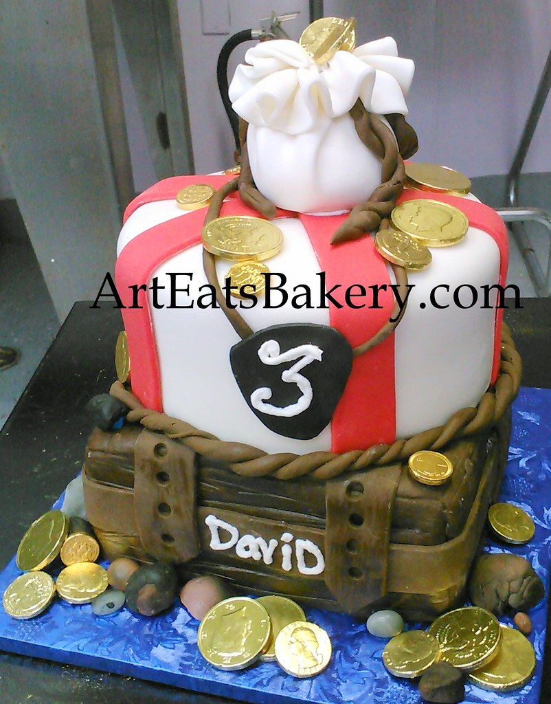 Admirable Boys Pirate Treasure Chest Creative Birthday Cake With Edible Personalised Birthday Cards Bromeletsinfo