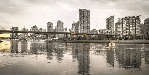 bridge panorama sun canada reflection building water skyline vancouver clouds creek buildings reflections river gold mirror golden boat town nikon downtown cityscape bc skyscrapers cloudy dusk britishcolumbia shuttle metallica yaletown falsecreek reflective desaturated cambie neighbourhood citycentre seabus false creeking creepingdeath bodyofwater detoned d5200 nikond5200 cambrebridge creekingdeath