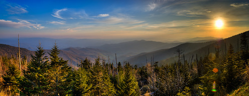 blue trees light sunset sky panorama sun mountains art clouds view wide wideangle valley lensflare clingmansdome lotsofshots smokymountainsgsmnp